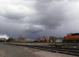 Storm over the peaks -- Downtown Flag from across the tracks